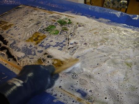 パネルの洗浄作業