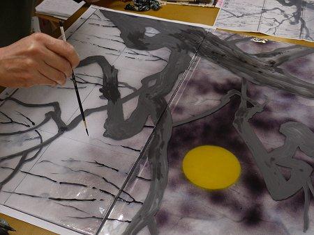 小枝はラファエルという細筆で描きます