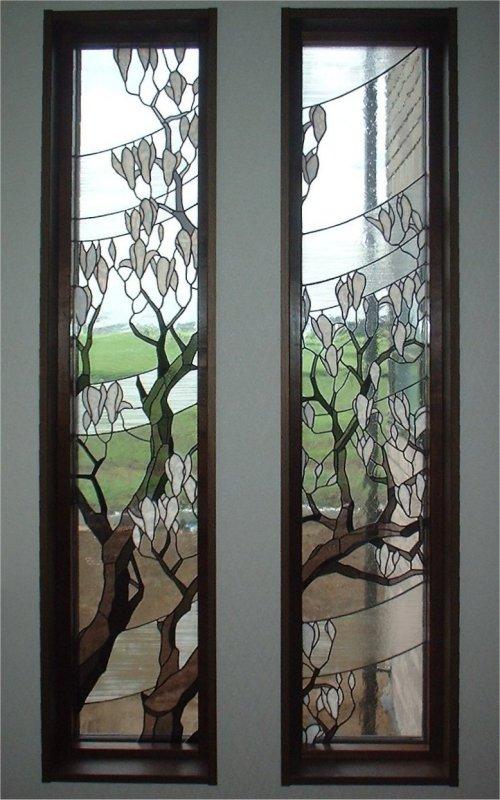 和風のステンドグラス「木蓮」