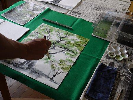 欅の水墨画