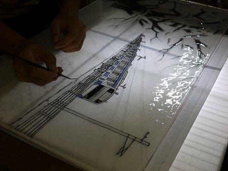 グリザイユで電車の絵を描いています