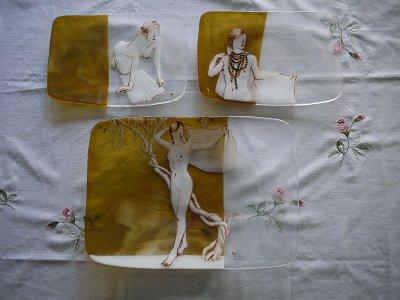 大小の絵皿セット「羽織」