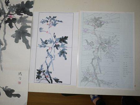 左から墨画、縮小墨画、型紙原紙(A3版)