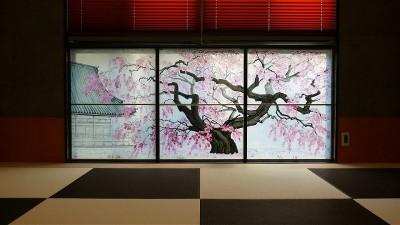 フュージング画「枝垂れ桜」