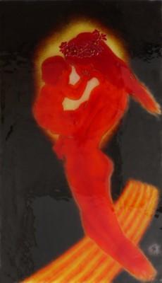 フュージング画「訶梨帝母」 鬼子母神とも言います。人の子を殺め喰うという悪習を止めて、神になる道を選びました。