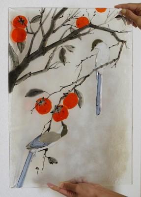 フュージング画「柿とオナガ」 私は小学生低学年のころまで、鳥ばかり描いていました