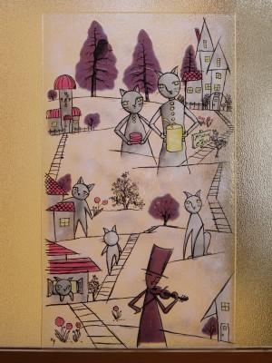 フュージング画「高台の料理店」