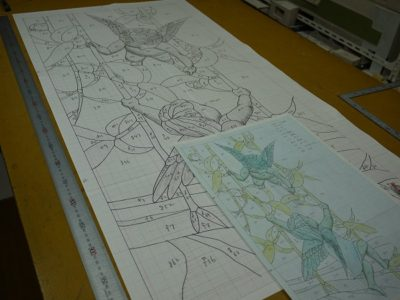 「つる遊び」の原寸型紙が出来上がっています。