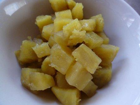 サイコロ状に切り、砂糖と少々の醬油で味付けしました。