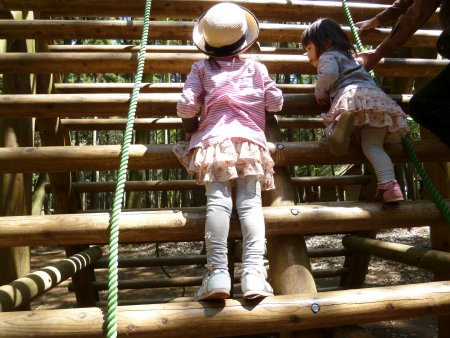 自分一人で登る!!と次女がどんどん登るので、超がつくほど怖がりの長女も意地で登っていました。2人は良きライバルです。