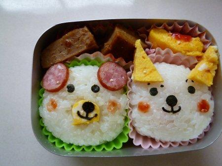 クマさんネコちゃん弁当。