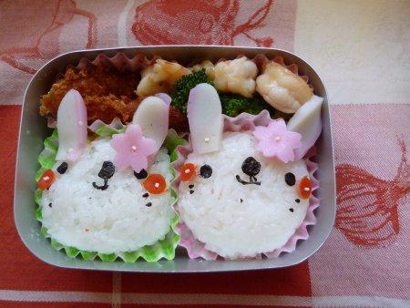 仲良しウサギさん弁当。。